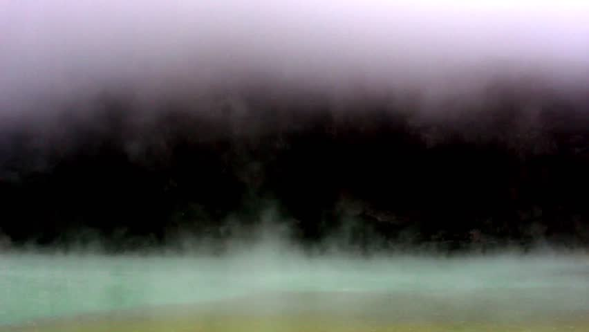Volcanic Sulfur Lake Evaporating 1 (timelapse)