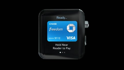 NYC, NEW YORK, UNITED STATES - CIRCA MAY, 2015: Apple Pay payment process with Apple Watch. Apple Pay is a mobile payment and digital wallet service by Apple Inc. (includes Alpha Channel)