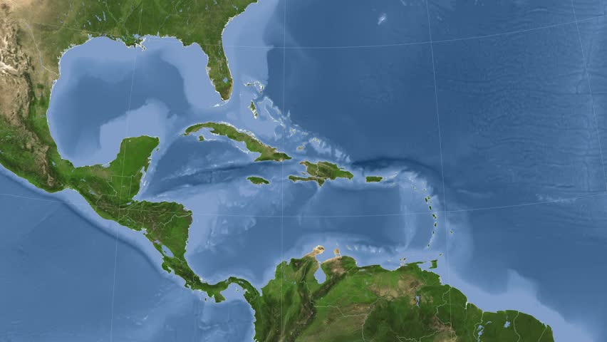 Haiti on the satellite map outlined and glowed. Elements of this image furnished by NASA.