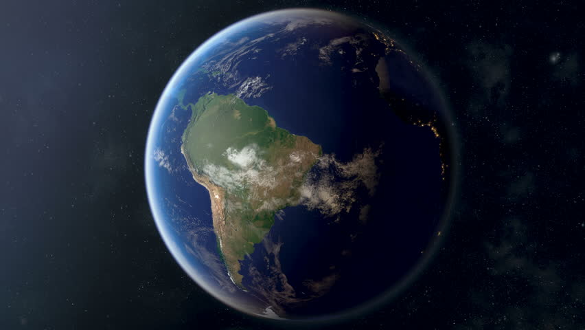 Orbiting over South America. Photorealistic 3d animation, created using ultra highres Nasa textures. 2nd half of the video contains country border masks that can be overlayed using masking & keying.