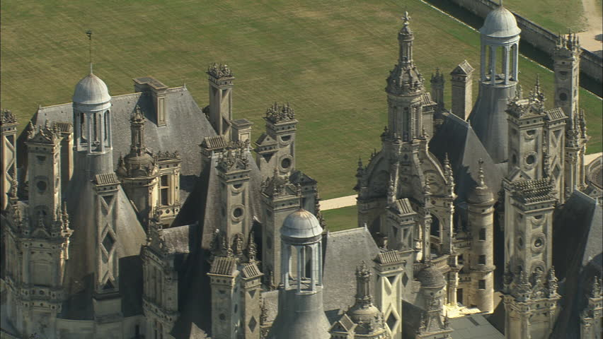 AERIAL France-Chateau De Chambord 2006: Chateau Chambord, tight on details in roof and spires