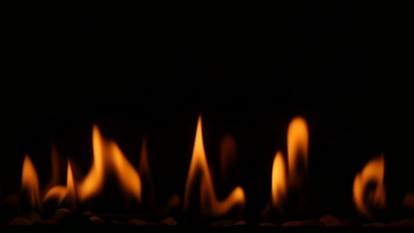 Close Up Of A Gas Fireplace Burning With Warm And Comforting ...