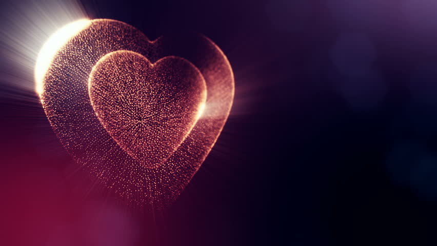 Red heart for valentines day or wedding background as seamless footage with depth of field and bokeh on dark background. Loop 3d animation of glow particles form 3d red heart.