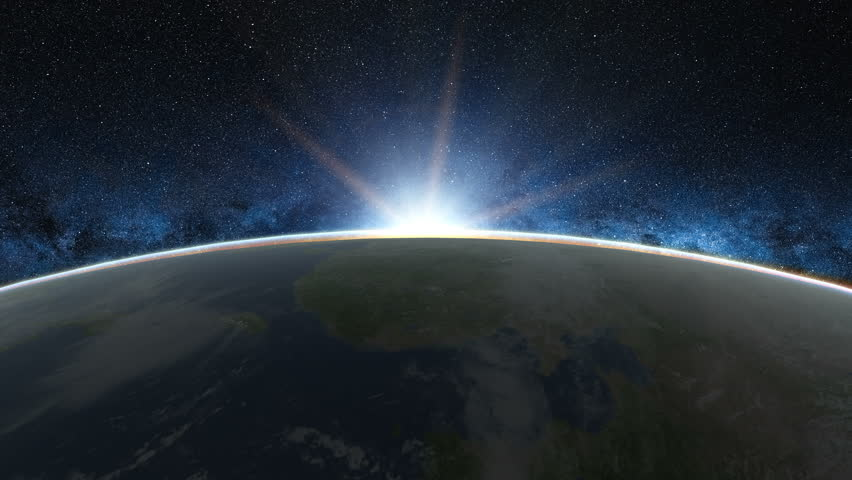 Beautiful sunrise view from space on Planet Earth. World close up rotating in Universe of blue sky stars. High detailed 4k 3D Render animation. Elements of this image furnished by NASA   Shutterstock HD Video #1005622648