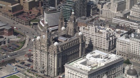 AERIAL United Kingdom-Liver Birds As Part Of The Three Graces Buildings 2005: Liver building Liverpool