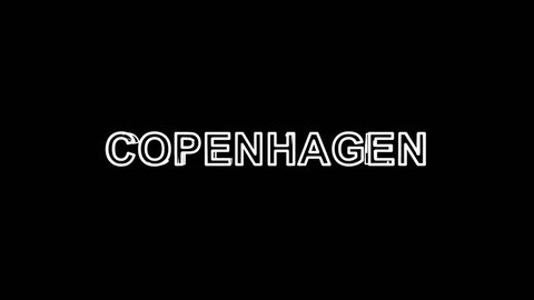 Letters are collected in capital name COPENHAGEN, then scattered into strips. Bright colors. Alpha channel Premultiplied - Matted with color black