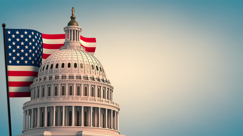 Capital Building with Flag Government Shutdown Animation. animation of the top of the United States Capital Building with a flag behind waving left justified on clouds background and government shutdo