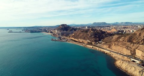 Spain  coastline Altea , Alicante a town in the community of Valencia and the province of costa blanca Alicante Spain Europe , aerial 4k cinematic