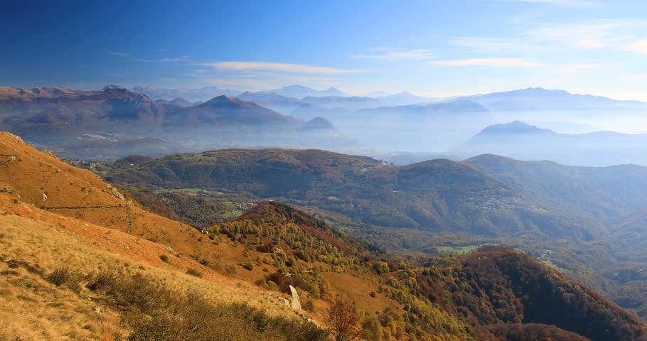 View to Lugano city, San Salvatore mountain and Lugano lake from Monte Lema, Canton Ticino, Switzerland    Shutterstock HD Video #1006637998