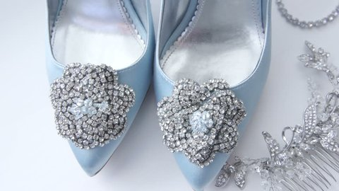 Blue Wedding Shoes And Jewelry Accessories