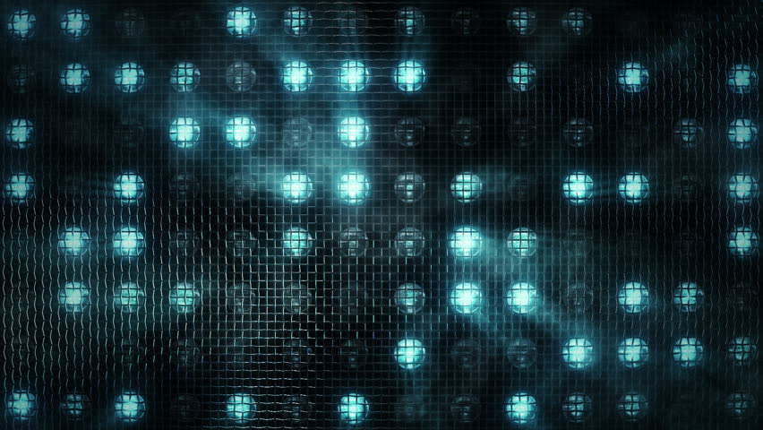 Animation of flashing light bulbs for projectors behind a metal lattice on wall for stage lights. Animation of seamless loop. | Shutterstock HD Video #1006671088