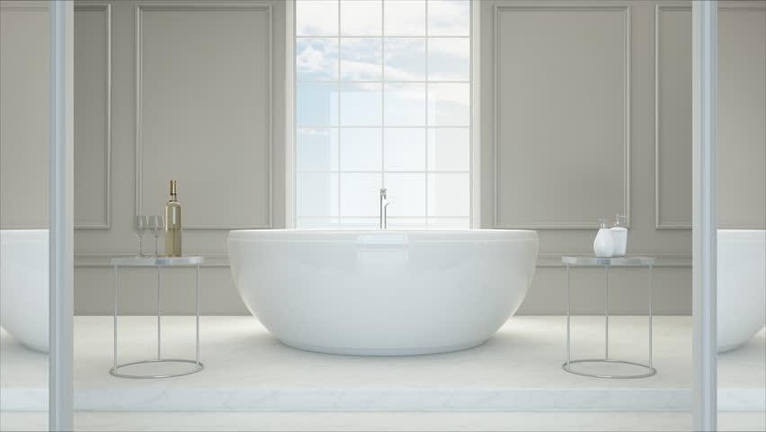 3D rendering. Luxury bathroom interior with bathtub, Dolling shot