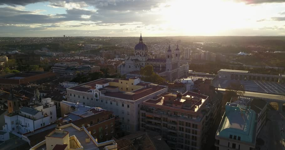 Aerial drone view of Royal Palace of Madrid, Spain at sunset | Shutterstock HD Video #1006714768