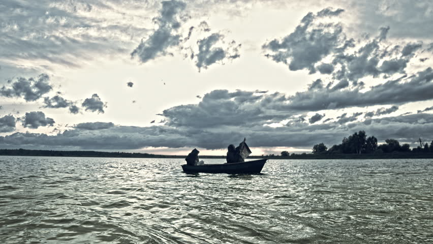 Apocalypse. Two in a boat. mythology