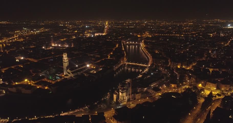 Verona, Italy, skyline aerial view at night | Shutterstock HD Video #1006768138