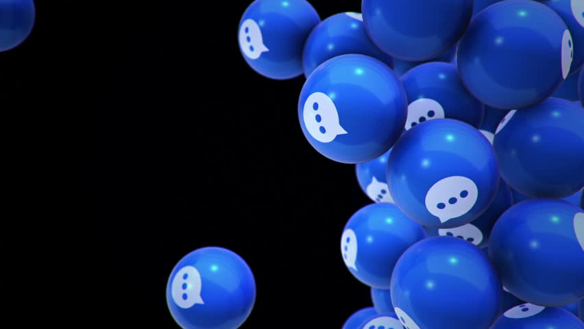 Animation of falling and filling screen blue balls with speech bubble symbol. Animation of seamless loop. | Shutterstock HD Video #1006772728