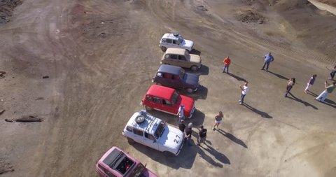 Classic car aerial view