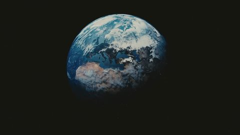 Earth rotating on axis in space with stars - 4K seamless loop - realistic world globe spinning slowly - full rotation - all the way around. Elements furnished by Nasa