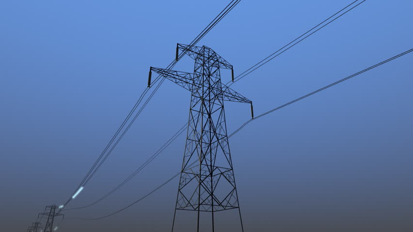 Electricity moves through power transmission lines CG animation