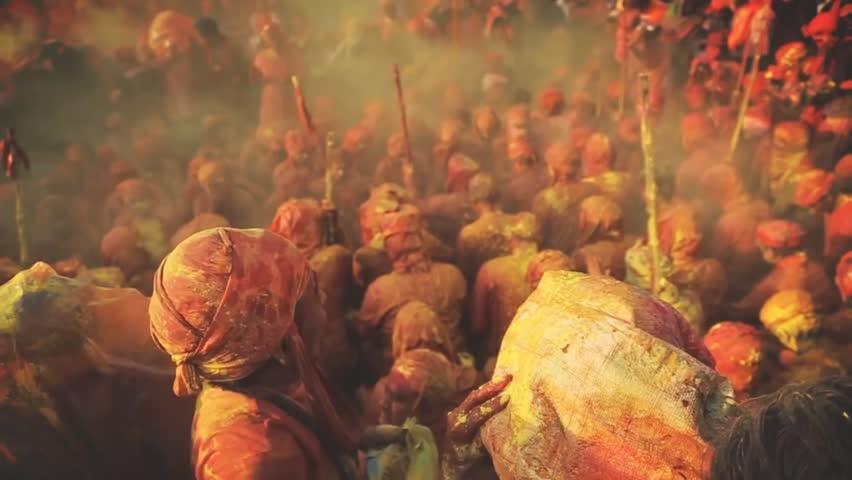 new delhi- india. people celebrating holi festival color of india