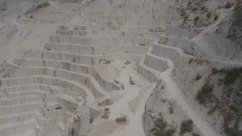 Aerial Drone Footage View of Quarry in work in Carrara Italy // no video editing