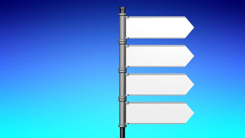 3D illustration/ 3D rendering - signpost with four arrows, blue background