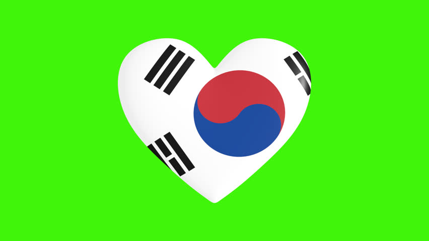 Pulsating heart in the colors of the South Korea flag, on a transparent background, 3d rendering, png format with alpha transparency channel, loop