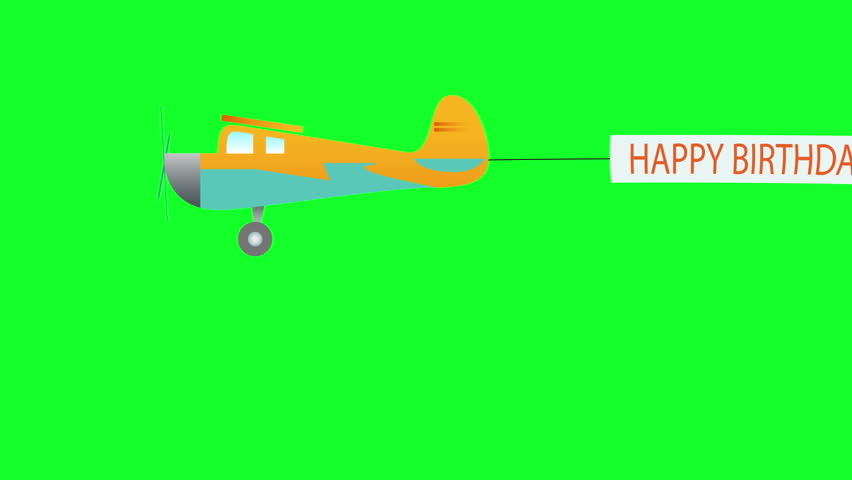 The plane flies with long banners with happy birthday text on green screen