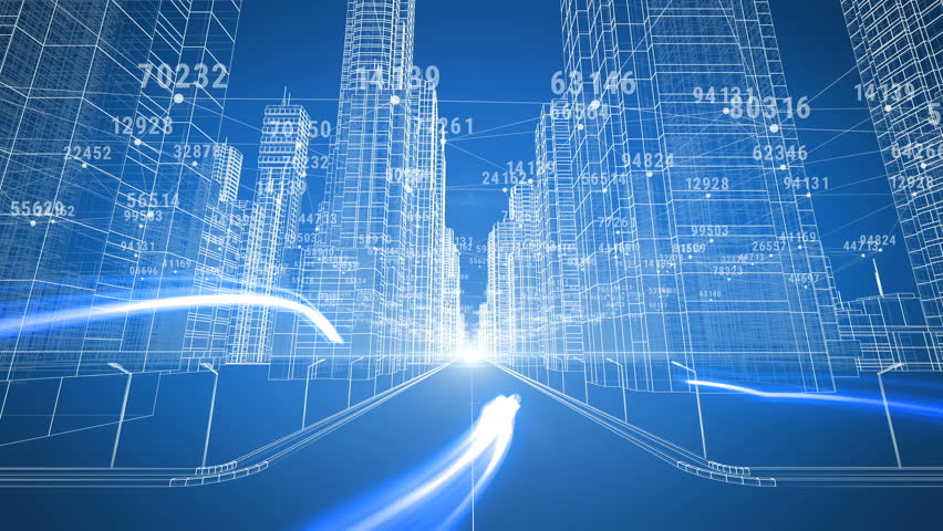 Blueprint style city 3d animation rendered in hd stock footage moving through the financial urban matrix digital 3d blueprint and numbers business and technology malvernweather Choice Image