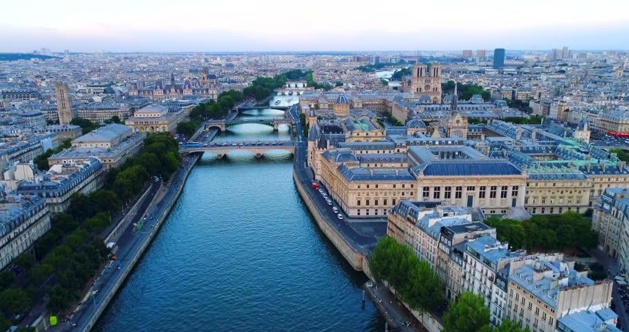 Paris Seine river aerial France | Shutterstock HD Video #1007012578