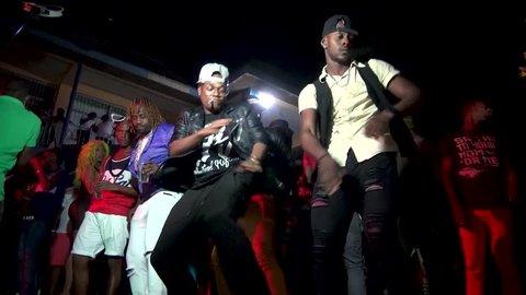KINGSTON,  JAMAICA - CIRCA JUNE 2017 : Street night club at Kingston.
