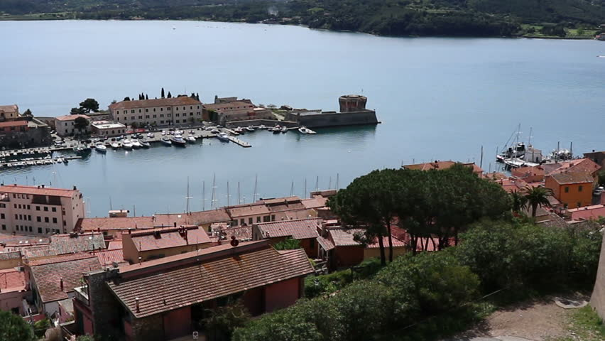 view of the Medici wharf in Portoferraio on the island of Elba