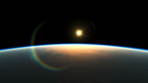 Sunrise Over The Earth. Amazing View Of Planet From Space. Realistic 3d Animation of Rays of light rise up Beyond the Horizon. Great Start to a New Day. Texture Maps from NASA. Movement of Sunlight