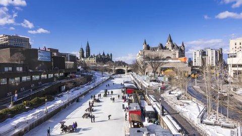 OTTAWA, ONTARIO / CANADA - JANUARY 28  2018: PEOPLE SKATING IN DOWNTOWN OTTAWA. 4K TIMELAPSE VIDEO.