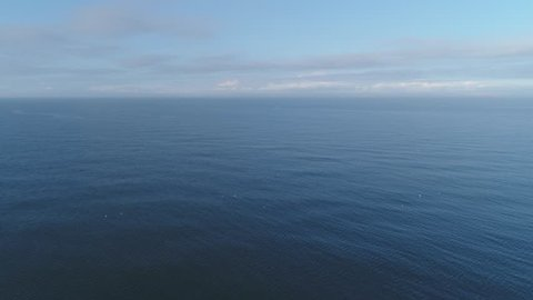 Aerial footage of fishing vessel alone in grand North Sea, Denmark