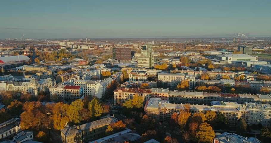 Riga city Autumn buildings living houses Drone flight sunny day | Shutterstock HD Video #1007072998