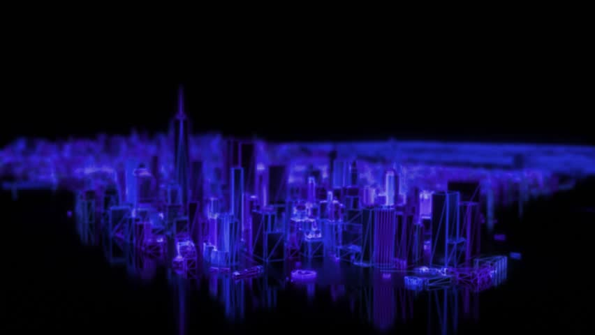 City neon glowing animated model New York NYC flyover wireframe skyscraper 80s 4k