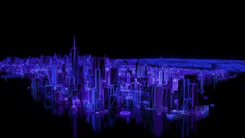 City neon glowing New York NYC flyover wireframe skyscraper 80s 4k
