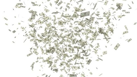 video celebration throwing dollars on white background