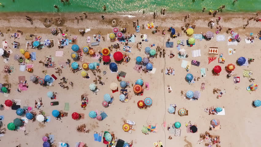 Aerial view of the beach filled with people on a hot sunny day. Sun umbrellas stand in yellow bright sand. People rest and sunbathe on the beach on a summer day near the ocean.