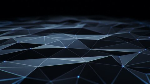 Abstract background with animation moving of dark surface with glowing track of energy. Technologic backdrop with plastic surface with neon stripes. Animation of seamless loop.