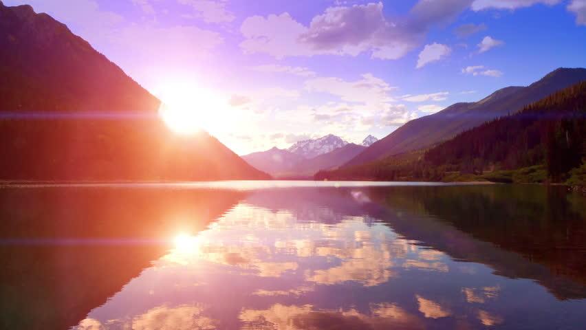 Dusk Mountain Lake Sunset Lens Flare Nature Landscape Vacation Travel Background