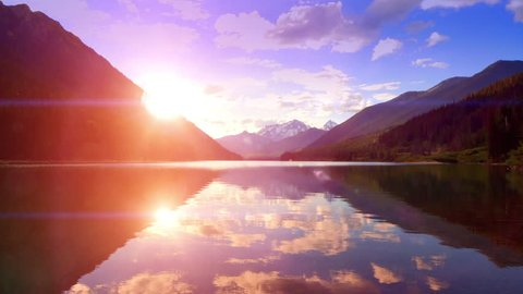 Dusk Mountain Lake Sunset Lens Flare Nature Landscape Vacation Travel Background