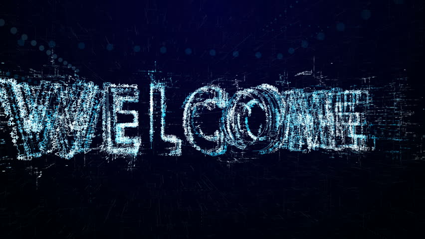 Welcome. Intro before starting or in pause. Tech header made up of small numbers and symbols. Show welcome | Shutterstock HD Video #1007193928