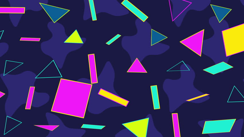 Motion retro shapes abstract background. Elegant and luxury dynamic geometric 70s, 80s, 90s Memphis style template in 4k footage. Video format 3840x2160 | Shutterstock HD Video #1007204488