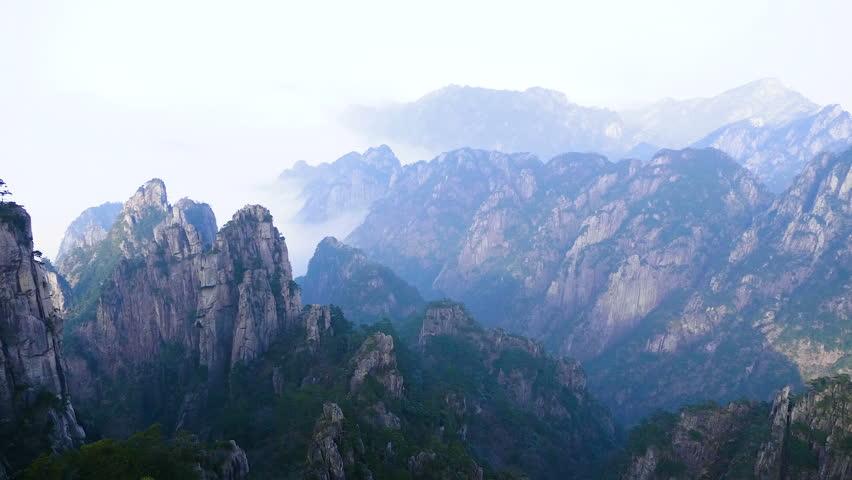 Yellow Mountain or huangshan mountain Cloud Sea Scenery, East China`s Anhui Province.