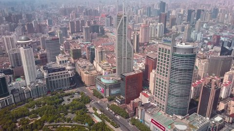 China Shanghai Aerial v22 Birdseye flying over People's Square with cityscape views 5/17