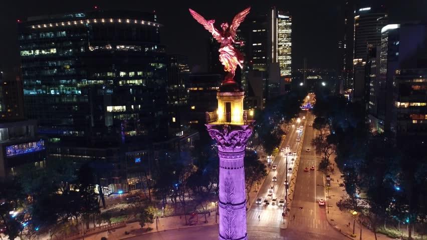 Angel de la Independencia Mexico DF Aerial Drone Noche | Shutterstock HD Video #1007245738