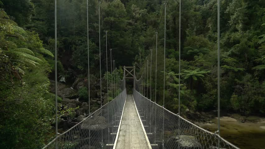 Hiker's perspective POV walking across suspension bridge in Abel Tasman National Park near shore and waterfall in tropical forest representing the beginning  of a journey and an adventure  #1007265688