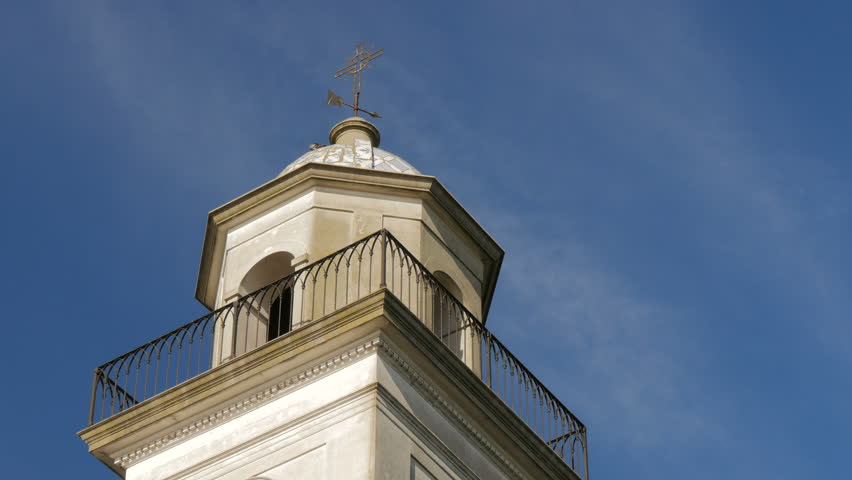 Detail of the steeple of the Basilica of the Holy Sacrament in the historic centre (a Unesco World Heritage site) of Colonia del Sacramento, Uruguay